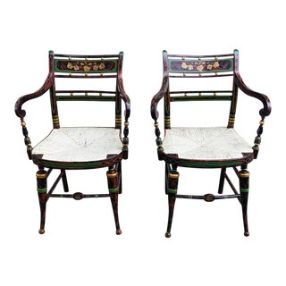 Early 19th Century Sheraton Fancy Painted Armchairs- A Pair For Sale