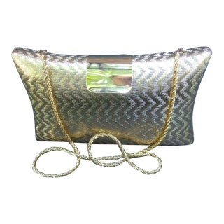 Saks Fifth Avenue Italian Gilt Metal Minaudière Bag For Sale