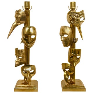 Italian Carnival Lamps Decorated With Cast Bronze Masks - a Pair For Sale