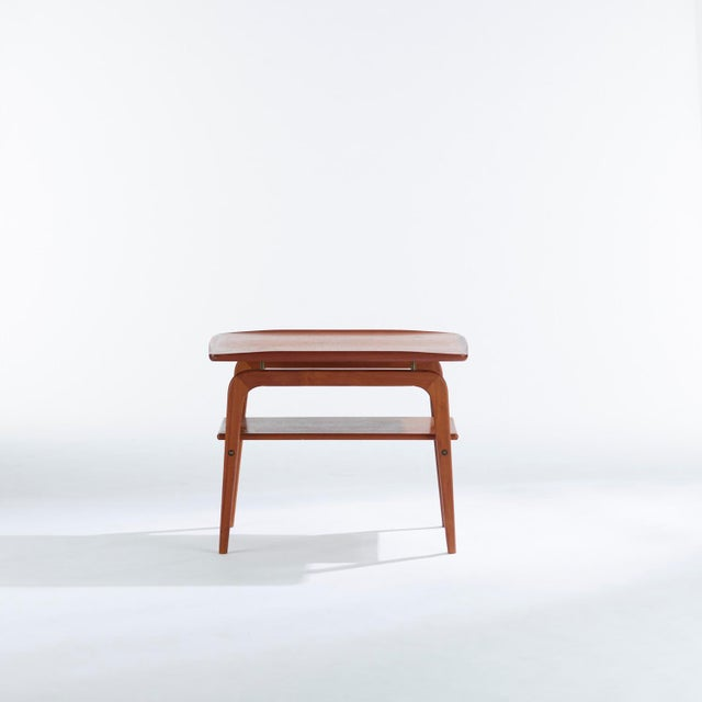 Danish Modern 1960s Danish Modern Arne Hovmand Olsen Teak and Brass Side Tables - a Pair For Sale - Image 3 of 8