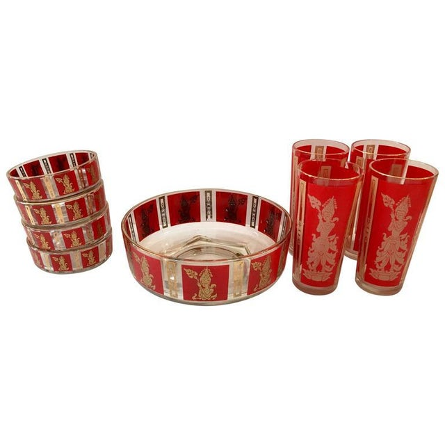 "Culver Mid-Century Red & 22k Gold ""Thai Goddess"" Drinks - Set of 9 - Image 8 of 8"