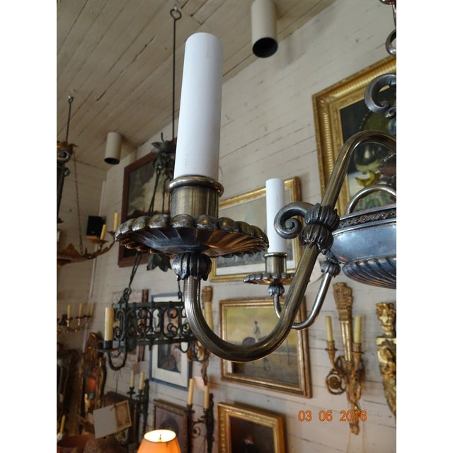 French Small French 19th Century Pewter Chandelier For Sale - Image 3 of 11