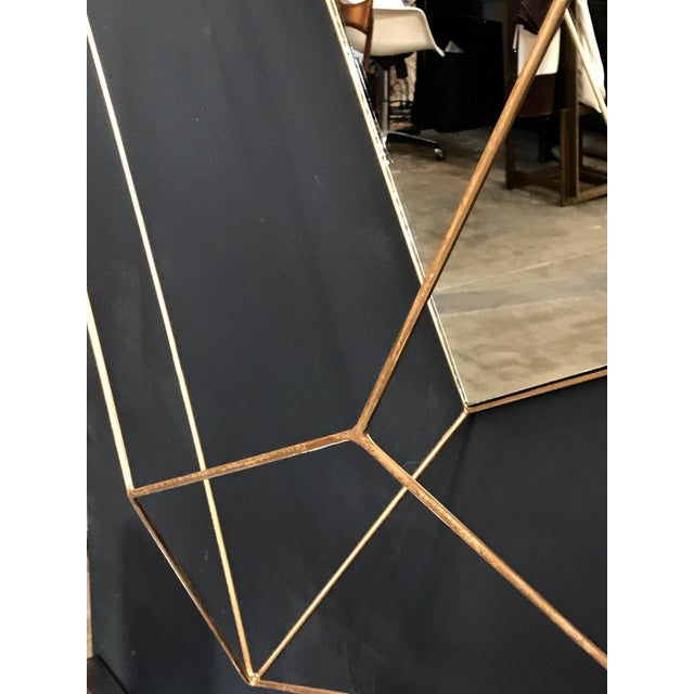 Metal Italian Large Rhomboidal Sculptural Wall Mirror in Brass For Sale - Image 7 of 10