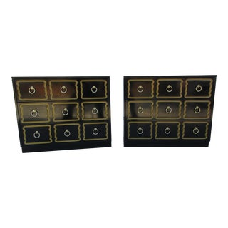 Dorothy Draper Style Black Lacquered Chests - A Pair