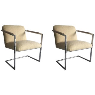 Architectural Chrome Chairs in the Manner of Milo Baughman, a Pair For Sale