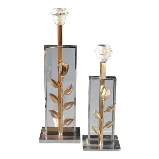 1970's Maison Charles Dore Bronze Rose/ Solid Chrome Base Table Lamps - a Pair