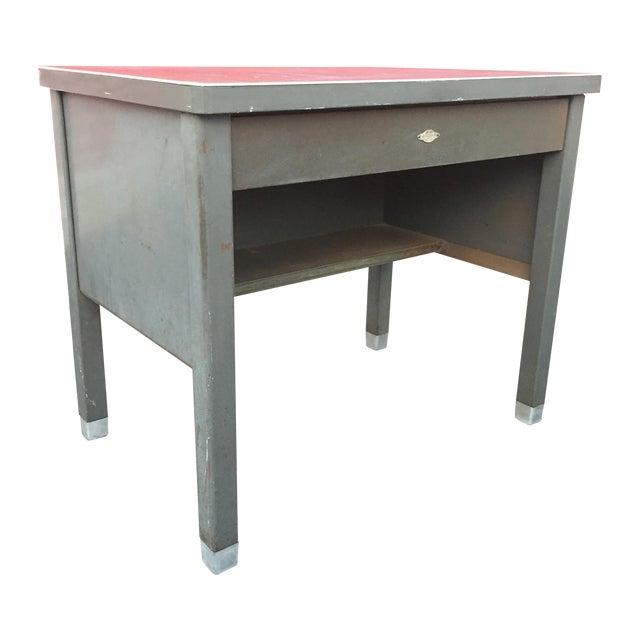 Industrial Age Desk With Drawer by Art Steel For Sale