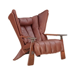 Pacific Green in Chestnut Brown Leather Verite Armchair For Sale