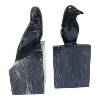 Pair of Modernist Art Deco Black Marble Birds Bookends For Sale