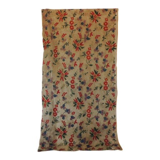 Fashion Vintage Embroidered Floral Indian Cotton on Sheer Linen Floral Scarf For Sale