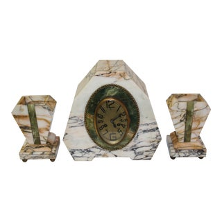 Art Deco Marble and Onyx Clock Set - 3 Pieces For Sale
