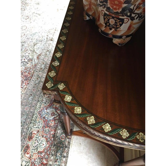 Mid 20th Century Demilune Tables with Hand Painted Flowers, 20th Century - A Pair For Sale - Image 5 of 9