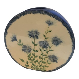 Blue & White Round Floral Vase