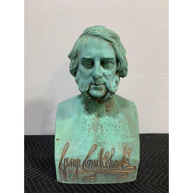 Patinated Bronze Bust of George Cruikshank by William Behnes For Sale - Image 4 of 4