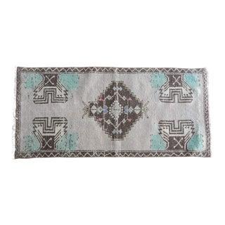 Turkish Vintage Cappadocia Handmade Medallion Design Small Rug 1′7″ × 3′4″ For Sale