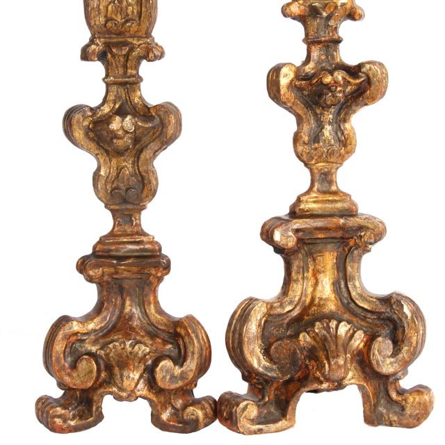 18th Century 18th Century Italian Altar Candlesticks-a Pair For Sale - Image 5 of 9