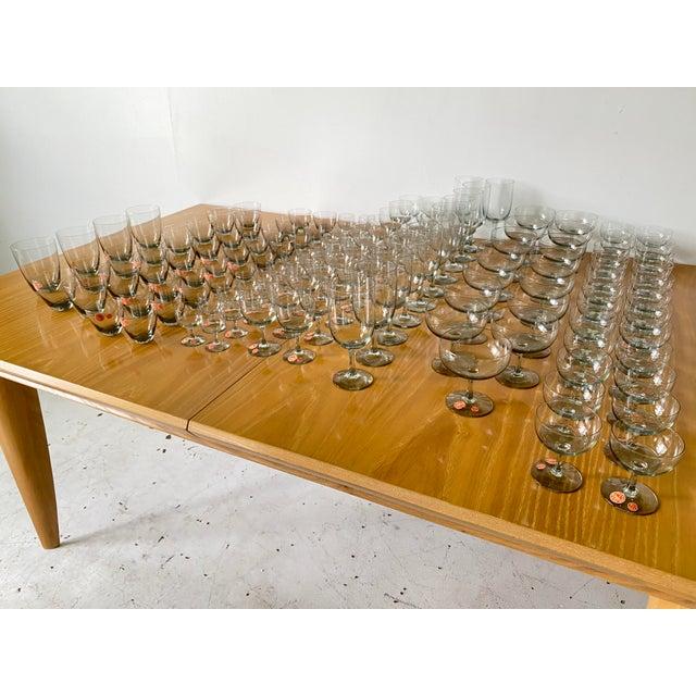 Glass 1950s Holmegaard Denmark Elsinore Smoke Glass Stemware - Set of 8 For Sale - Image 7 of 8