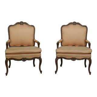 Pair French Louis XV Style Fauteuils Armchairs For Sale