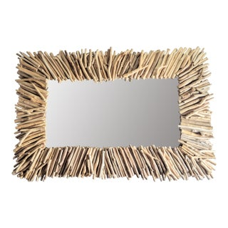 Driftwood Stick Mirror - Made by Hand For Sale