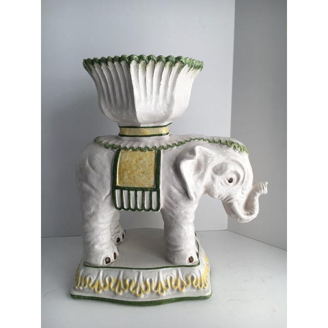 Italian ceramic elephant cachepot planter. This is a great compliment to the garden or interior as the elephant has a very...