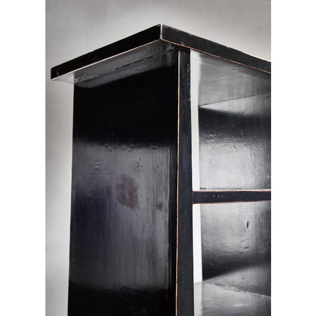 1930s Black Lacquered Wood Bookcase, Dutch, 1930s For Sale - Image 5 of 7