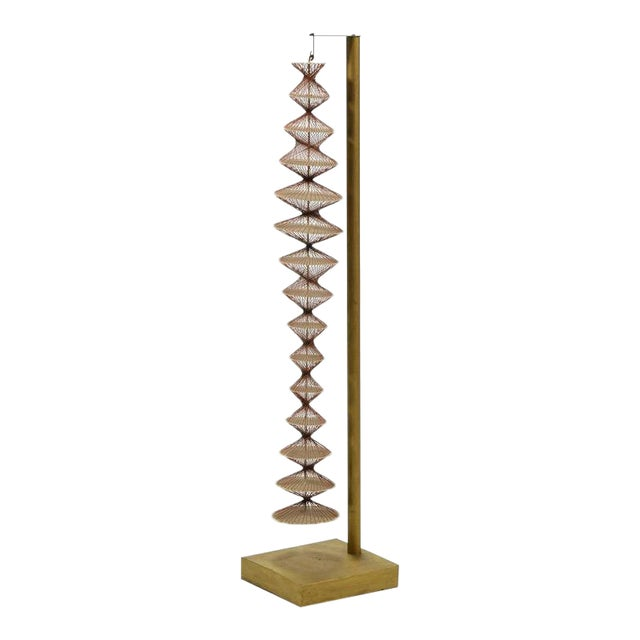 Abstract Geometric Sculpture in Steel and String For Sale