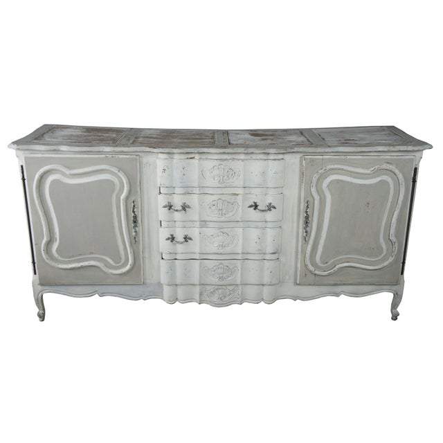 French Provincial 19th Century Antique French Country Provincial White Sideboard For Sale - Image 3 of 13
