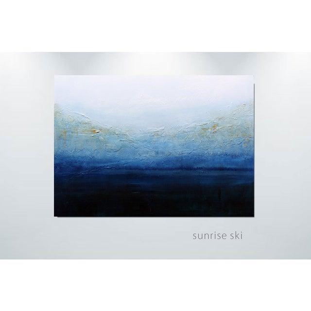 Blue & White Textured Modern Abstract Painting - Image 2 of 6