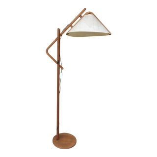 Mid-Century Modern Scandinavian-Style Wood Floor Lamp For Sale