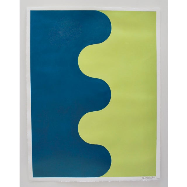 Stephanie Henderson Original Hairpin Serpentine in Marine and Avocado Painting For Sale In Atlanta - Image 6 of 6