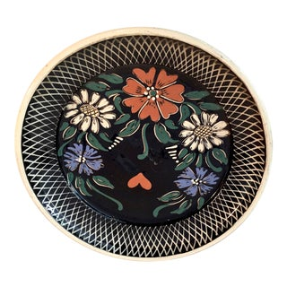 Vintage German Hand Painted Decorative Hanging Plate For Sale