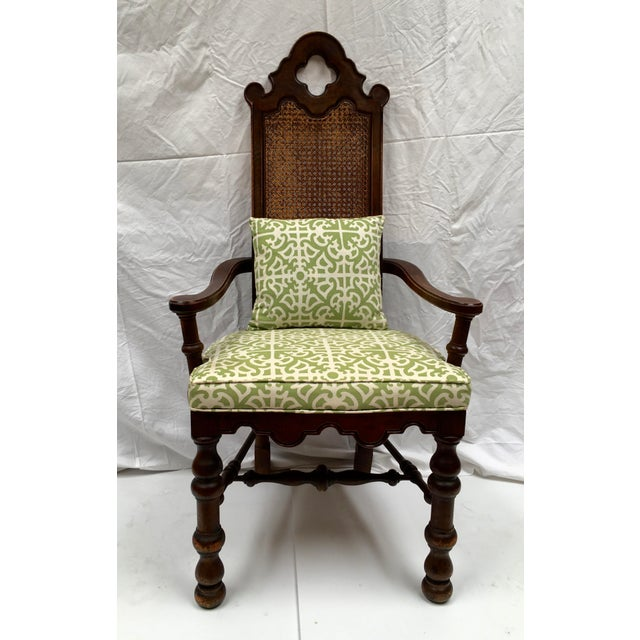 French Oak Cane Back Upholstered Chairs - A Pair - Image 3 of 11