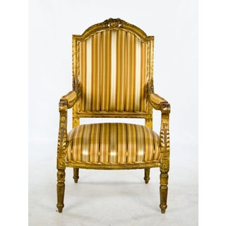 Late 19th Century Antique French Louis XVI Style Giltwood Fauteuil Chairs- A Pair Preview