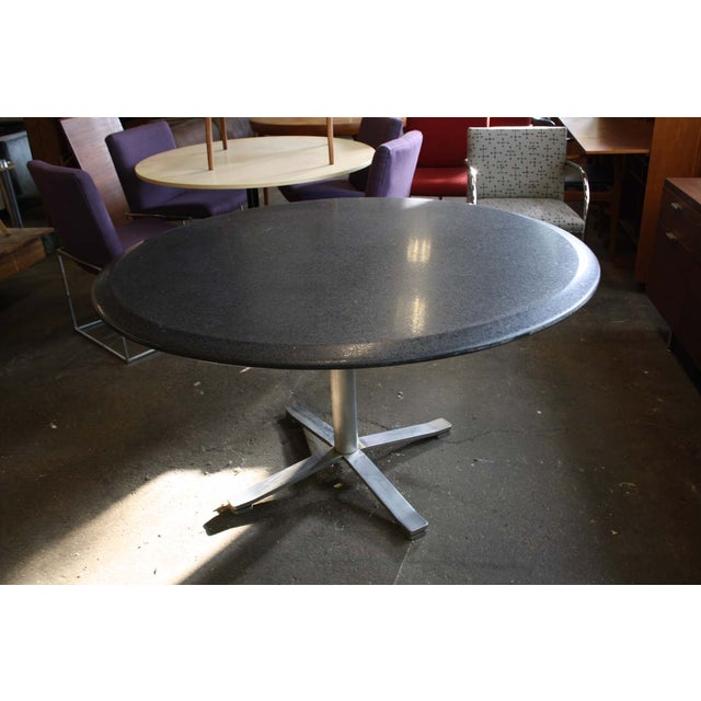 Industrial Zographos Beveled Marble Top Table With Steel Base For Sale - Image 3 of 6