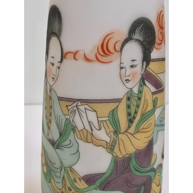 Japanese Opaline White Glass Vase Hand Painted With Geishas For Sale - Image 9 of 11