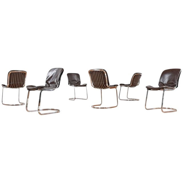 Cidue Chrome and Leather Dining Chairs - Set of 6 For Sale