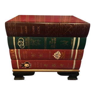 Stacked Classic Books Hand Painted Side Table/Chest For Sale