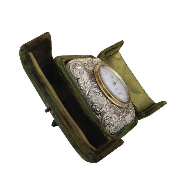 Victorian Silver Embossed Bed Side Clock by Douglas Clock Company - Image 5 of 7