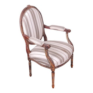 Antique French Louis XVI Style Distressed Cottage Khaki Striped Bergere Arm Chair