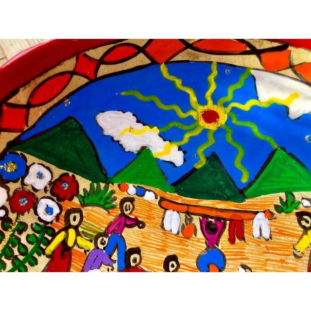 Mexican Wedding Folk Art Hand-Painted Pottery Bowl For Sale - Image 4 of 8