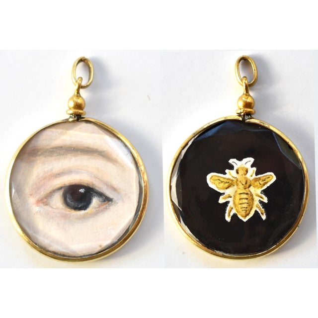 Contemporary Lover's Eye Painting by S. Carson in an Antique French Pendant Locket- Double Sided For Sale - Image 4 of 4