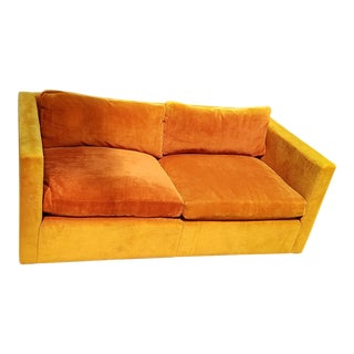 """1970s Knoll Charles Pfister Orange Velvet 60"""" Settee"""