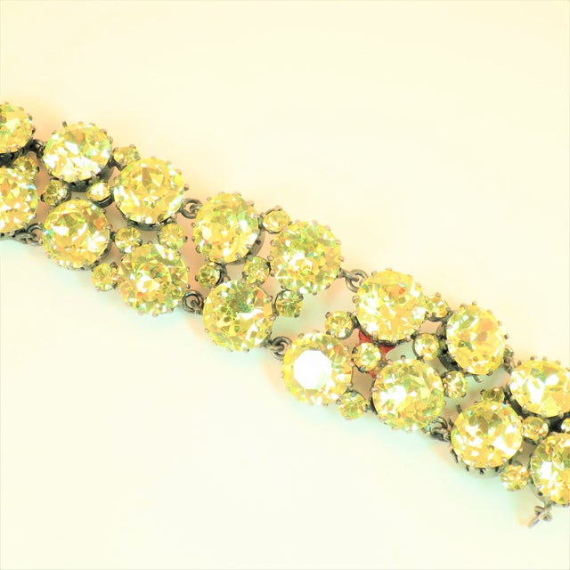Offered here is an Austrian hand-fashioned crystal link bracelet from the 1950s. The raison d'etre of this glittering...