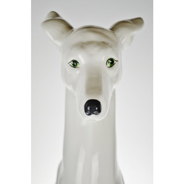 """White Vintage Italian Ceramic Whippet Greyhound 28"""" Dog Sculpture For Sale - Image 8 of 13"""