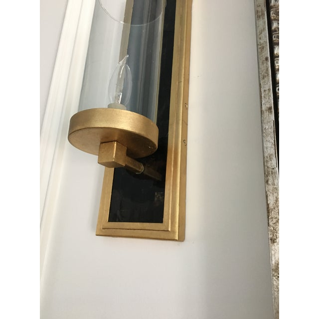 Currey and Company Contemporary Gold Leaf / Black Wall Sconces - A Pair For Sale In Washington DC - Image 6 of 6