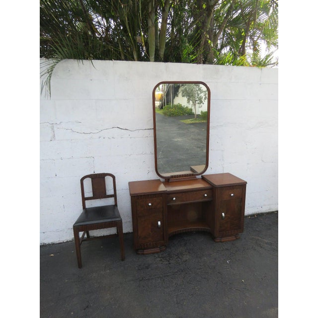 Art Deco Walnut Set of Vanity Writing Desk With Mirror and Chair For Sale - Image 11 of 11