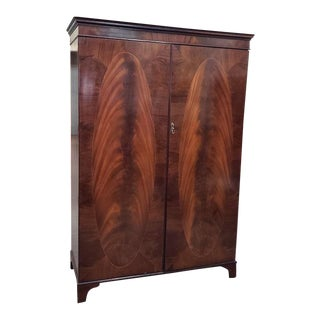 Mid Century Flame Mahogany Double Door Armoire C.1950s For Sale