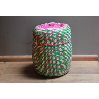 Hand-Woven Tenate Oaxacan Basket in Green and Hot Pink Preview