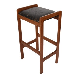 Danish Modern Teak Bar Stool With Leather Seat For Sale