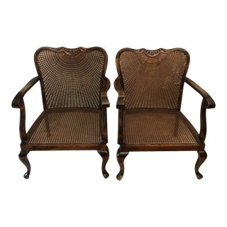 Vintage Mid Century British Colonial Cane Chairs - a Pair For Sale